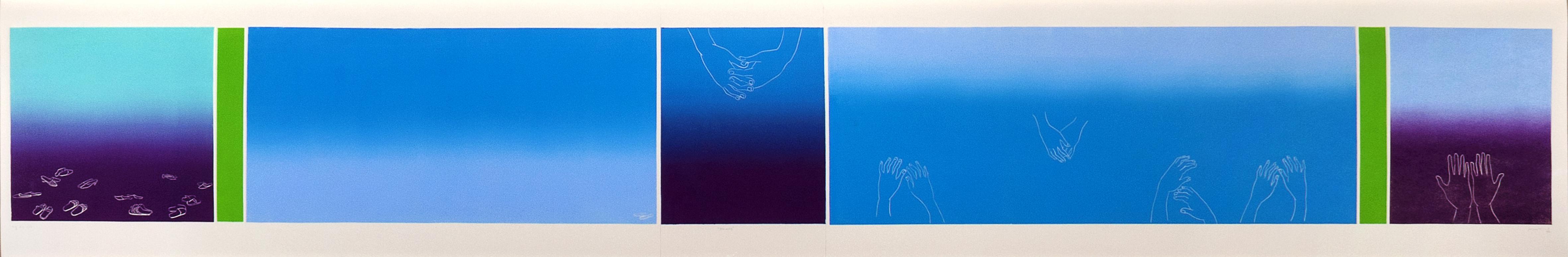 Benares, 2007, barvni linorez / colour linocut, 36,5 x 210 cm